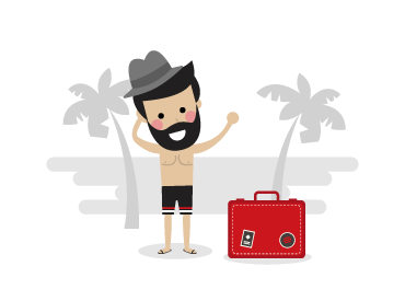 A man standing on the beach with a red suitcase searching for travel insurance quotes.